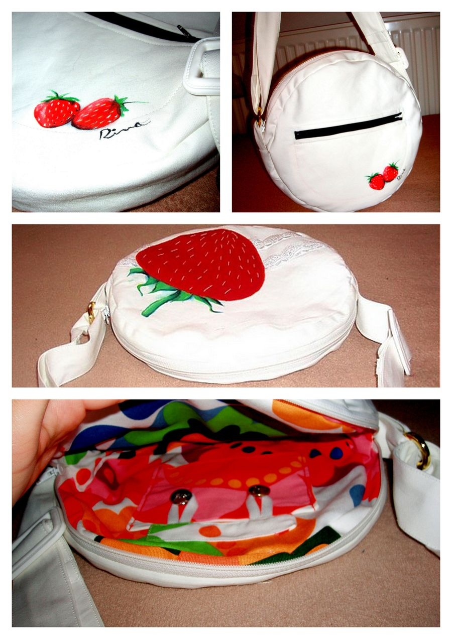 biela okrúhla kabelka s jahôdkou