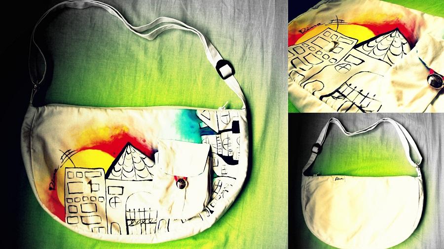 kabelka s ručnou maľbou